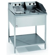 PARRY PDTPF9 DOUBLE TANK SINGLE BASKET ELECTRIC PEDESTAL FRYER
